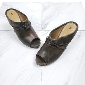 Anthro Schuler & Sons Brown Leather Open Toe Clog